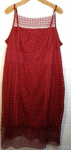 Cato Wine Red Lace Strappy Dress